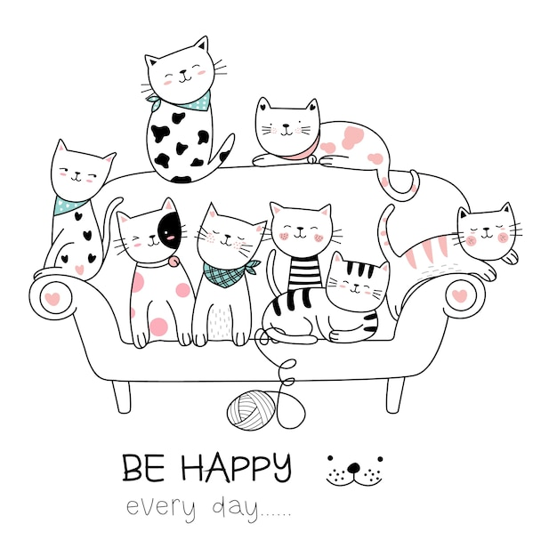 Ładny kot kreskówka ręcznie rysowane stylu