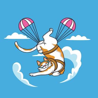 Ładny kot kreskówka robi skoki spadochronowe z zabawnym wyrazem twarzy