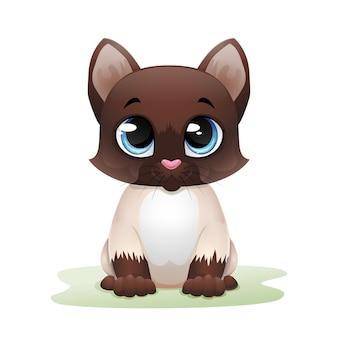 Ładny kot kreskówka siedzi na trawie