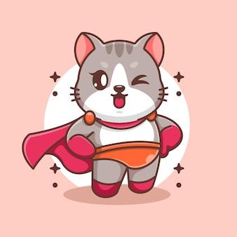 Ładny kot kreskówka superbohatera