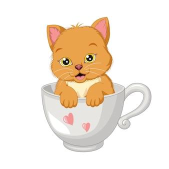 Ładny kot kreskówka w białym kubku