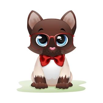 Ładny kot kreskówka w czerwonych okularach i łuku