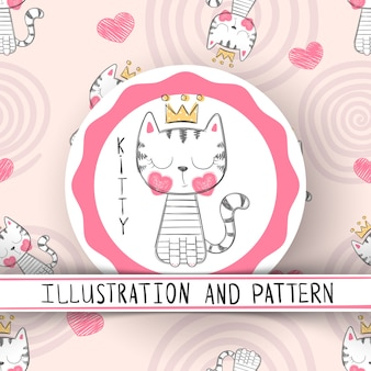 Ładny kot - kreskówka wzór