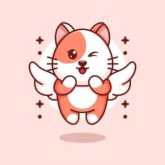 Ładny kot latający kąt