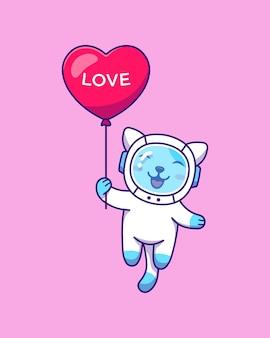 Ładny kot latający z balonem