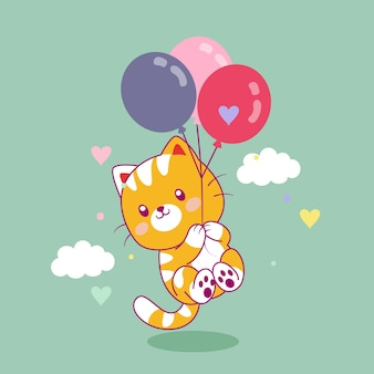 Ładny kot latający z balonów