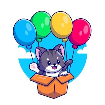 Ładny kot latający z tekturowym pudełkiem i balonem ikona ilustracja kreskówka.