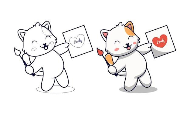 Ładny kot malujący miłość kreskówka kolorowanki dla dzieci