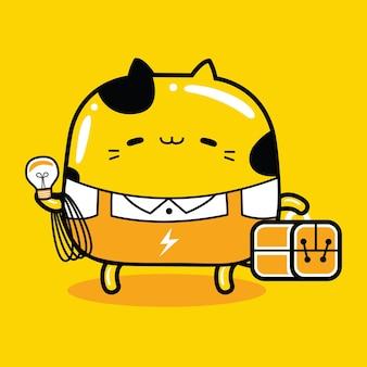 Ładny kot maskotka charakter zawód elektryka w stylu płaskiej kreskówki
