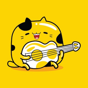 Ładny kot maskotka gra na gitarze w stylu płaskiej kreskówki