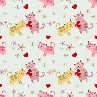 Ładny kot miłośników z wzór kształtu serca.