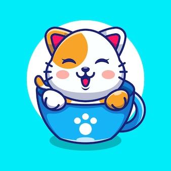 Ładny kot na filiżance kawy kreskówka