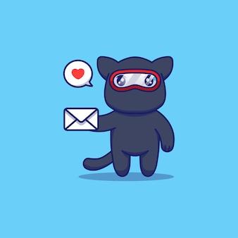 Ładny Kot Ninja Niosący List Premium Wektorów