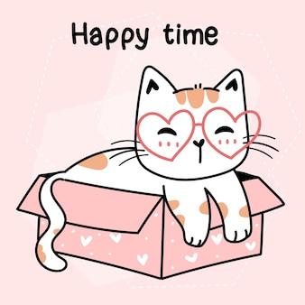 Ładny kot nosić okulary serca siedzieć w różowym pustym pudełku kreskówka doodle rysunek wektor