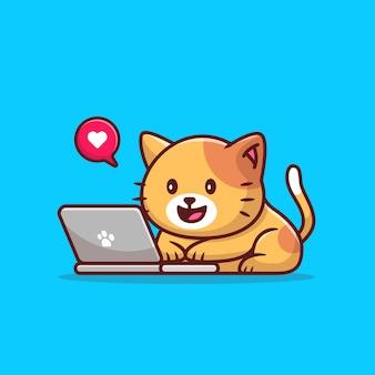 Ładny kot obsługujący laptopa kreskówka wektor ilustracja. koncepcja technologii zwierząt na białym tle. płaski styl kreskówki