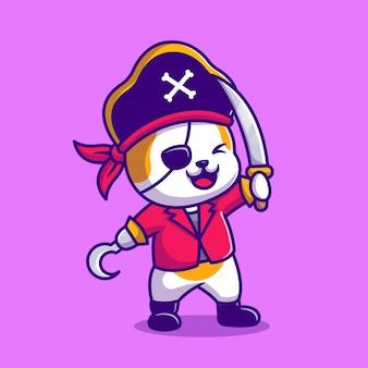 Ładny kot pirat z kreskówki mieczem. płaski styl kreskówki