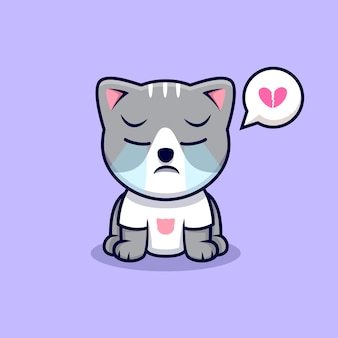 Ładny kot płacze ikona ilustracja kreskówka. płaski styl kreskówki