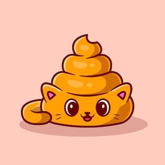 Ładny kot poop kreskówka ikona ilustracja.