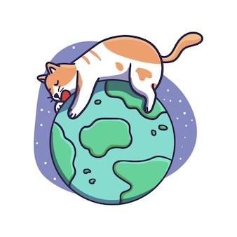 Ładny kot postać śpi na ilustracji kuli ziemskiej