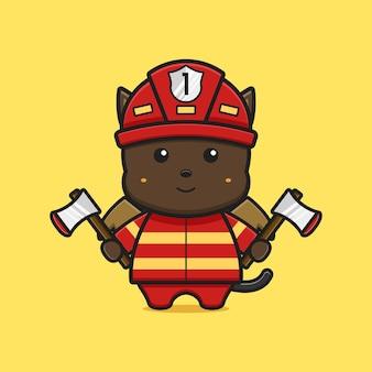 Ładny kot potwór strażak ikona ilustracja kreskówka. zaprojektuj na białym tle płaski styl kreskówki
