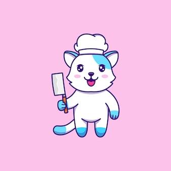 Ładny kot pracujący jako szef kuchni