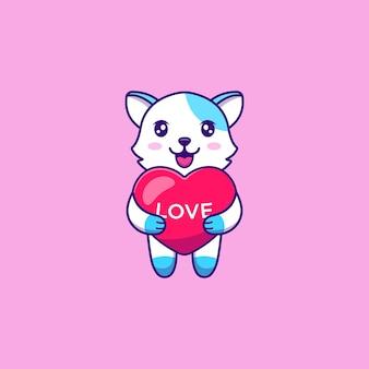 Ładny kot przytulić balony miłości
