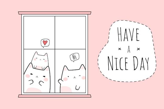 Ładny kot rodziny pozdrowienie kreskówka doodle karta