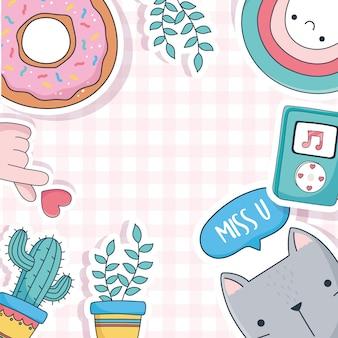 Ładny kot rośliny doniczkowe kaktus pączek muzyka rzeczy na kartach naklejki lub łaty dekoracji kreskówki