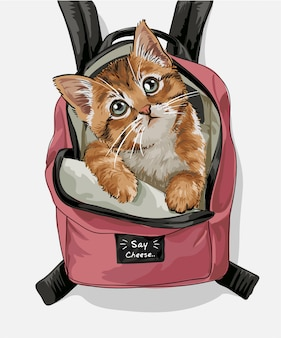 Ładny kot różowy plecak ilustracja