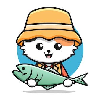 Ładny kot rybak trzymający dużą rybę