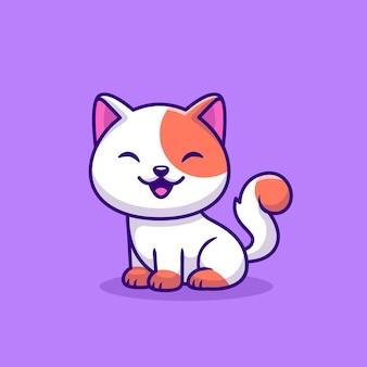 Ładny kot siedzi ikona kreskówka