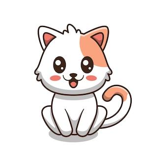 Ładny kot siedzi ilustracja kreskówka