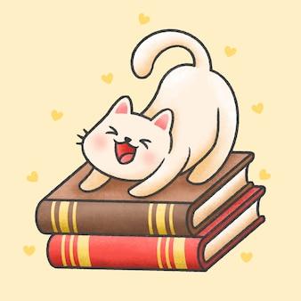 Ładny kot siedzi na stosie książek kreskówki stylu wyciągnąć rękę