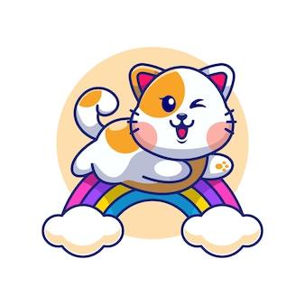 Ładny kot skaczący z tęczy kreskówki