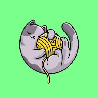 Ładny kot śpi i przytulić ilustracja kreskówka piłka przędzy. pojęcie natury zwierzęcej na białym tle. płaski styl kreskówki