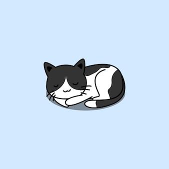 Ładny kot śpi kreskówka na białym tle na niebiesko