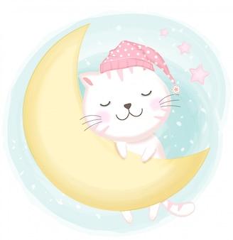 Ładny kot śpi ręcznie rysowane ilustracji
