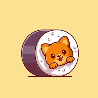Ładny kot sushi kreskówka ikona ilustracja.
