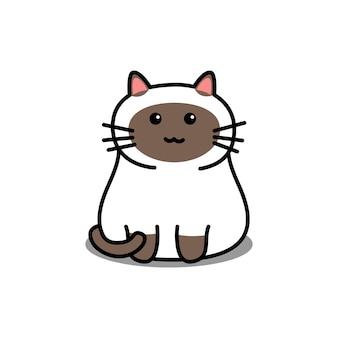 Ładny kot syjamski kreskówka na białym tle