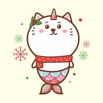 Ładny kot syrenka jednorożec wesołych świąt kawaii kreskówki ręcznie rysowane.