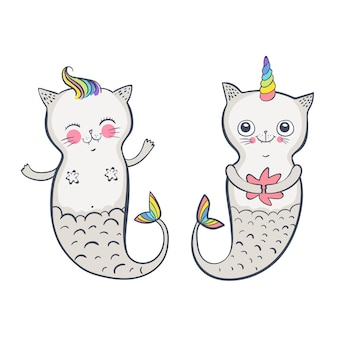 Ładny kot syrenka, wektor zbiory ilustracji dla dzieci. szczęśliwe bliźniaki. ilustracja wektorowa eps 10