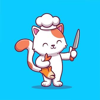 Ładny kot szefa kuchni, trzymając rybę i nóż ikona ilustracja kreskówka. jedzenie dla zwierząt ikona koncepcja na białym tle premium. płaski styl kreskówki