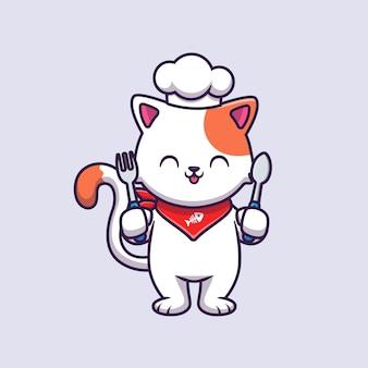 Ładny kot szefa kuchni trzymając widelec i łyżka ilustracja kreskówka wektor.