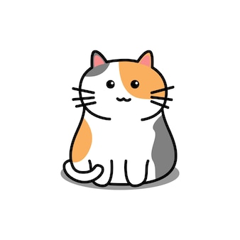 Ładny kot trzy kolor kreskówka na białym tle