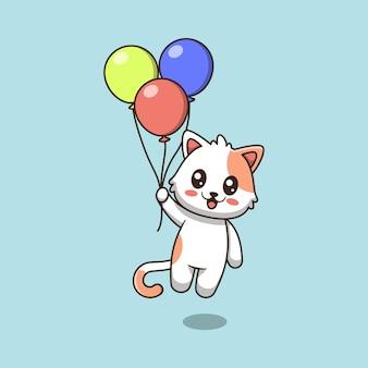 Ładny kot trzyma balonową ilustrację kreskówki