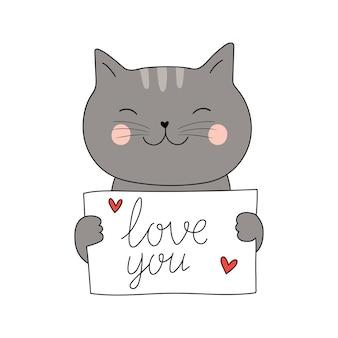 Ładny kot trzyma list z napisem kocham cię izolowany na białych kartach wektorowych w stylu płaski