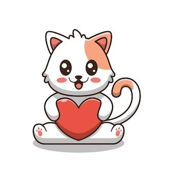 Ładny kot trzymając miłość ilustracja kreskówka