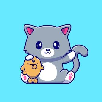 Ładny kot trzymając rybę kreskówka wektor ilustracja. koncepcja natury zwierząt na białym tle premium wektorów. płaski styl kreskówki