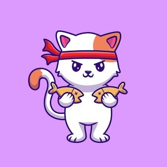 Ładny kot trzymając rybę kreskówka wektor ilustracja.
