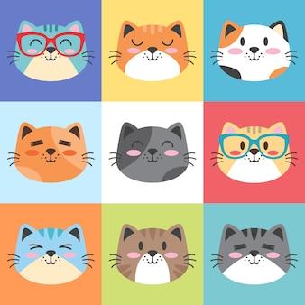 Ładny kot twarze kreskówka zestaw ilustracji płaska konstrukcja